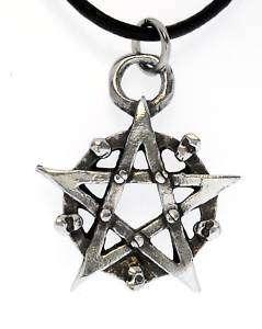 PENTAGRAM SKULLS Silver Pewter Pendant Leather Necklace