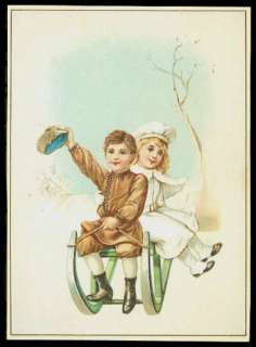 French Victorian Trade Card   Boy & Girl On Sled
