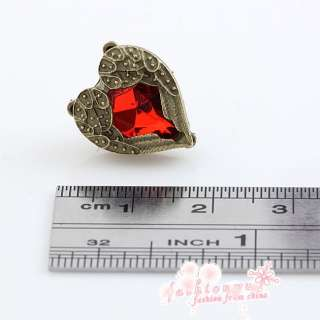 Fashion Pretty Old Bronze Plated Pair Red Crystal Heart Love Wing