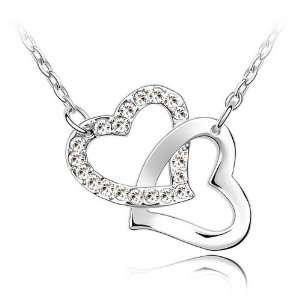 Mothers Day Twinkling Swarovski Crystal Double Heart Pendant Necklace