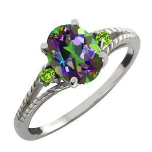 36 Ct Oval Green Mystic Topaz and Green Peridot Argentium Silver Ring